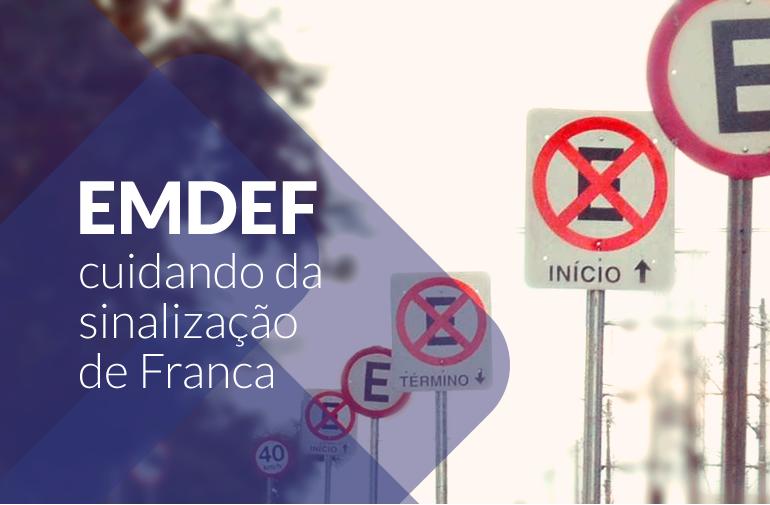 Fotos de placas de trânsito. A imagem ilustra a chamada para conteúdo informativo sobre o trabalho de manutenção da sinalização de transito  que a EMDEF realiza.