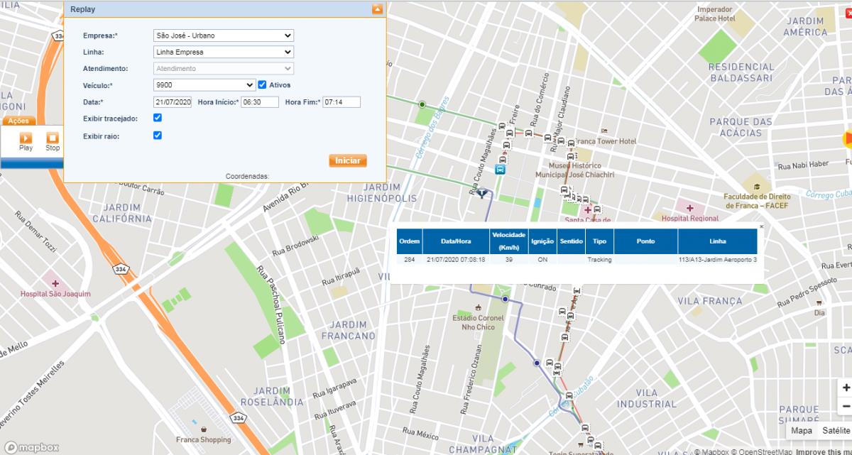 Na imagem é exibido um mapa utilizado pelo monitoramento via GPS