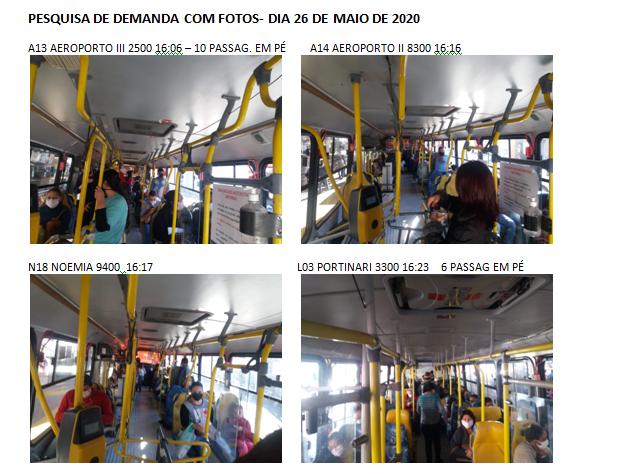 Na imagem, quadro de fotos que a EMDEF utiliza para pesquisa de demanda, onde nas legendas constam a linha, horário e quantidade de passageiros em pé e sentados