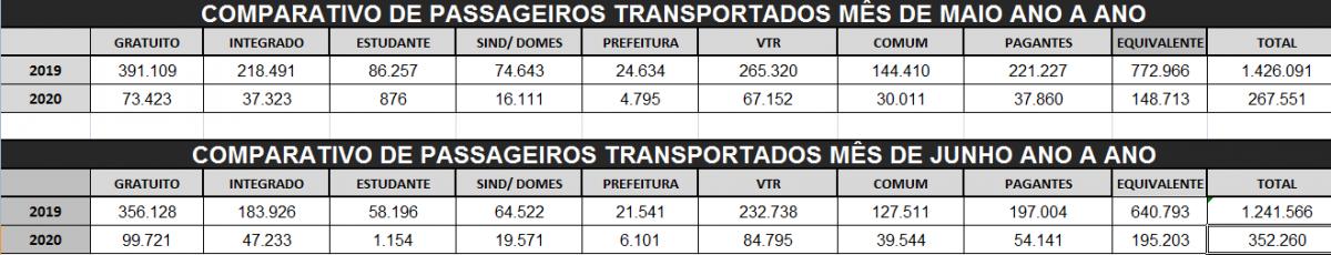 Planilha ilustrando a demanda de transportados por mês
