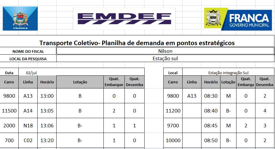 A imagem ilustra uma das planilhas de controle de demanda da EMDEF