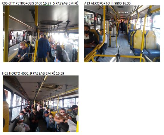 Na imagem mais fotos de pesquisa de demanda realizada pela EMDEF no interior de várias linhas onde se pode observar passageiros sentados e em pé dentro dos ônibus
